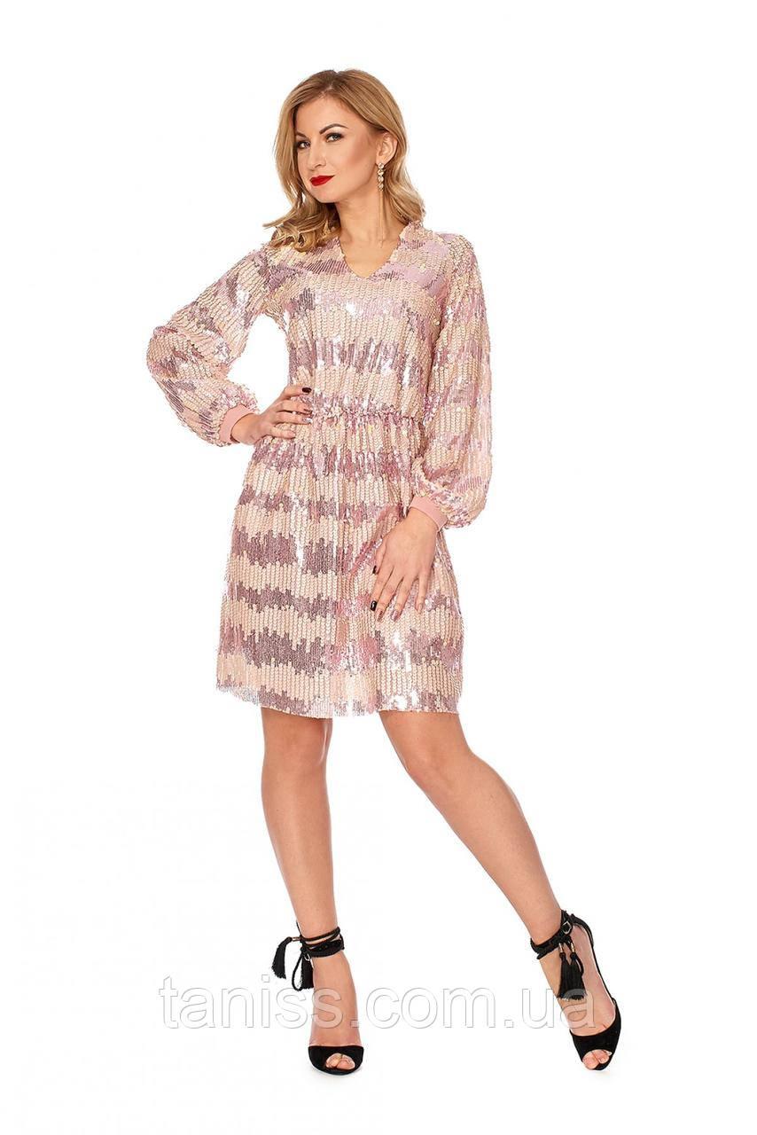 Вечернее, нарядное, молодежное, платье,ткань  из кожаных и блестящих паеток,розовый,42-44.46-48(1117)
