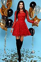 Изумительное Нарядное Платье с Верхним Слоем из Сетки с Цветочками Красное S-XL, фото 1