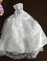 Белое пышное платье с кружевом для куклы Барби