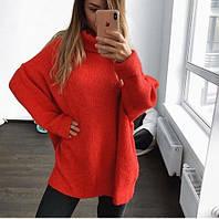 Женский теплый объемный свитер под горло в стиле Zara оранжевый, фото 1