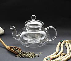 Чайник стекло + сито пружина 600мл.