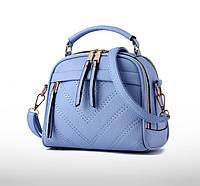 Мини сумочка с меховым брелком Голубой