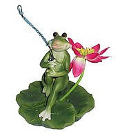 "Декоративная фигура для пруда ""Лягушка рыбачит на листе"""