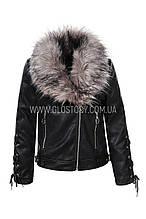 Кожаная куртка с меховым воротником,GLO-Story Последний размер