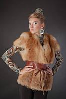 Меховая жилетка жилет с рукавчиком из цельной рыжей лисы Fox fur full skin short sleeve vest fur gilet