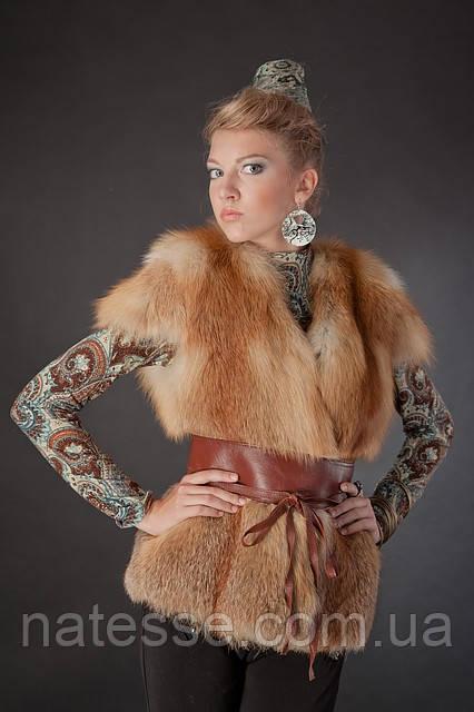 Меховая жилетка жилет с рукавчиком из цельной рыжей лисы Fox fur full skin short sleeve vest fur gilet, фото 1