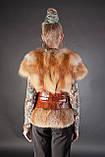 Меховая жилетка жилет с рукавчиком из цельной рыжей лисы Fox fur full skin short sleeve vest fur gilet, фото 3
