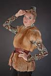 Меховая жилетка жилет с рукавчиком из цельной рыжей лисы Fox fur full skin short sleeve vest fur gilet, фото 4