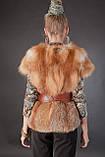 Меховая жилетка жилет с рукавчиком из цельной рыжей лисы Fox fur full skin short sleeve vest fur gilet, фото 5