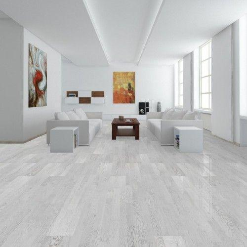 Паркетна дошка Polarwood SPACE Дуб Elara  White Matt  1-полосный