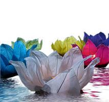 """Фонарь бумажный плавающий """"Лотос"""" Голубой"""