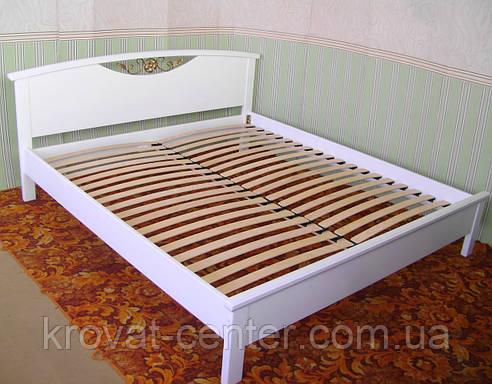 """Белая полуторная кровать """"Фантазия"""". Массив - сосна, ольха, береза, дуб., фото 2"""