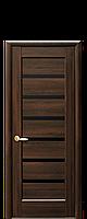 Дверне полотно Лінея з чорним склом  колір Каштан