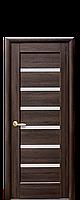 Дверне полотно Лінея зі склом сатин колір Каштан