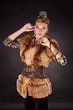 Хутряна жилетка жилет з лисиці на гачках, розшита шкірою Fox (leather inset) fur vest fur coat waist, фото 2