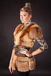Хутряна жилетка жилет з лисиці на гачках, розшита шкірою Fox (leather inset) fur vest fur coat waist, фото 3