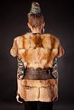 Хутряна жилетка жилет з лисиці на гачках, розшита шкірою Fox (leather inset) fur vest fur coat waist, фото 4