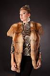 Хутряна жилетка жилет з лисиці на гачках, розшита шкірою Fox (leather inset) fur vest fur coat waist, фото 5