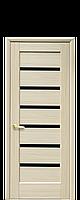 Дверне полотно Лінея з чорним склом  колір Ясень