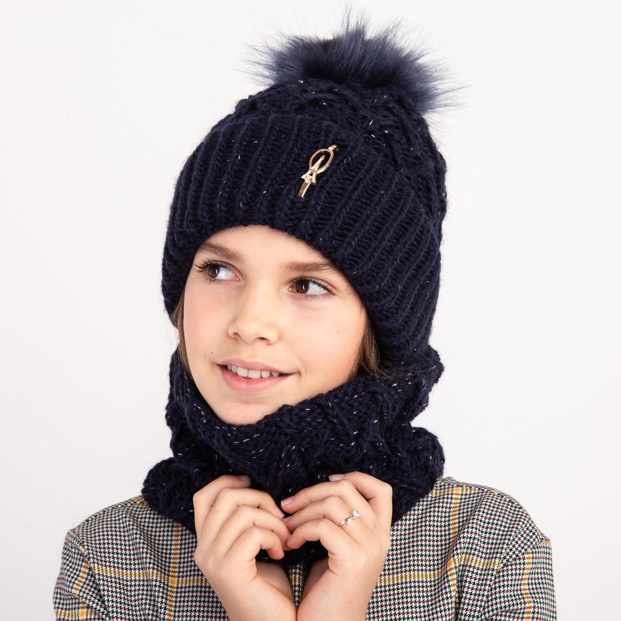 Модный вязанный комплект на зиму для девочки - Артикул 2401