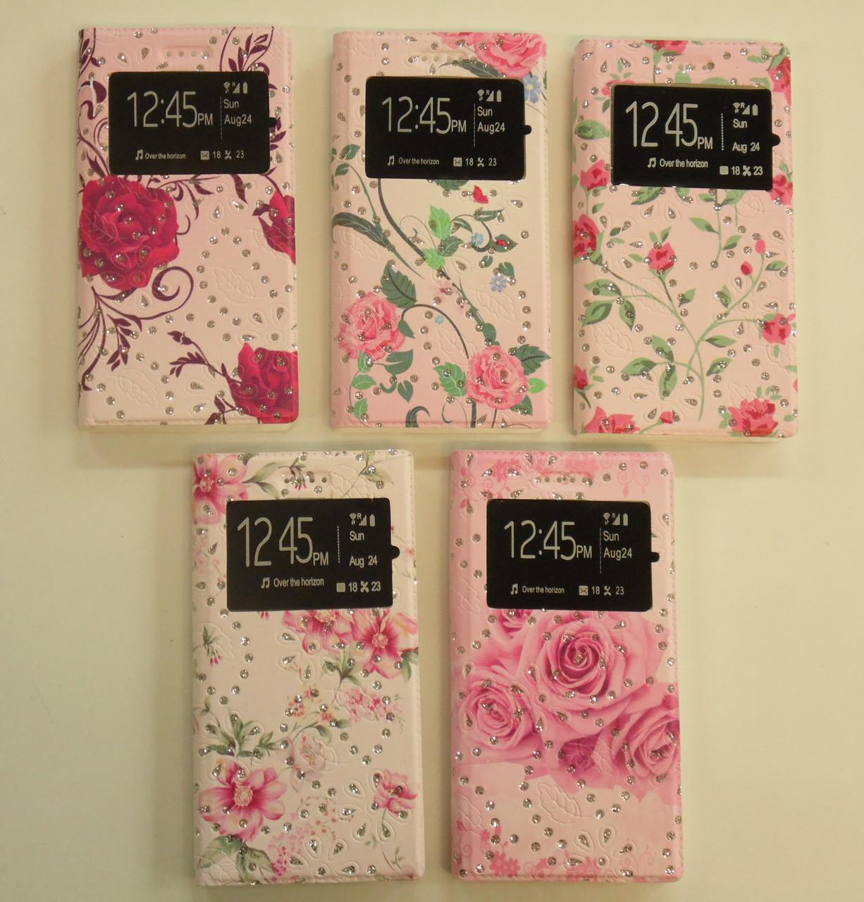 "Книжка боковая Flowers with Diamonds с окном №1 (5.7"") pink ""Акционная Цена"""