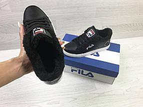 Женские кроссовки черные на зиму на эко меху, фото 3