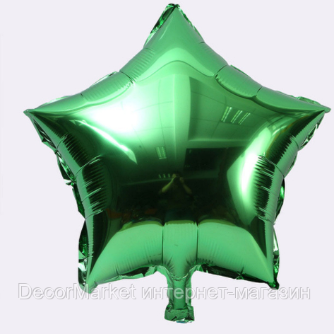 Шар звезда фольгированная, ЗЕЛЕНАЯ  - 45 см (18 дюймов), фото 2
