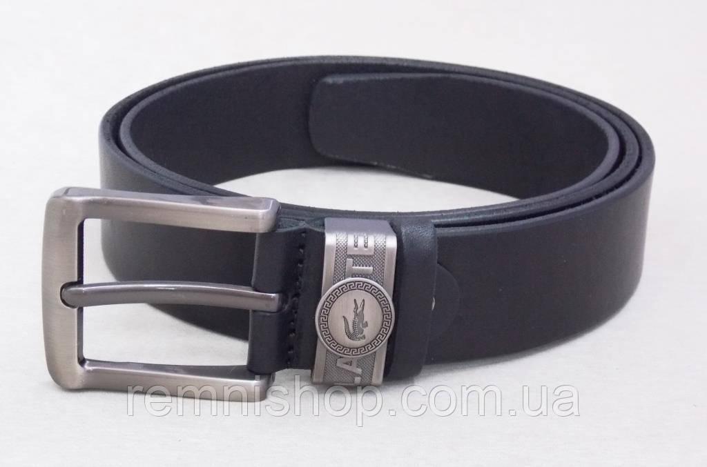 Мужской кожаный ремень Lacoste черный