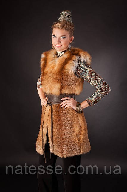 Меховая жилетка из меха рыжей лисы без воротника Horizontal layered collarless fox fur vest fur waist coat