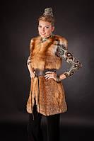 Меховая жилетка из меха рыжей лисы без воротника Horizontal layered collarless fox fur vest fur waist coat , фото 1