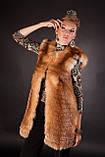 Меховая жилетка из меха рыжей лисы без воротника Horizontal layered collarless fox fur vest fur waist coat , фото 2