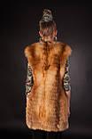 Меховая жилетка из меха рыжей лисы без воротника Horizontal layered collarless fox fur vest fur waist coat , фото 3