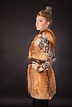 Меховая жилетка из меха рыжей лисы без воротника Horizontal layered collarless fox fur vest fur waist coat , фото 4