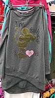 Туника для девочки на 8-14 лет серого цвета с надписью Минни оптом