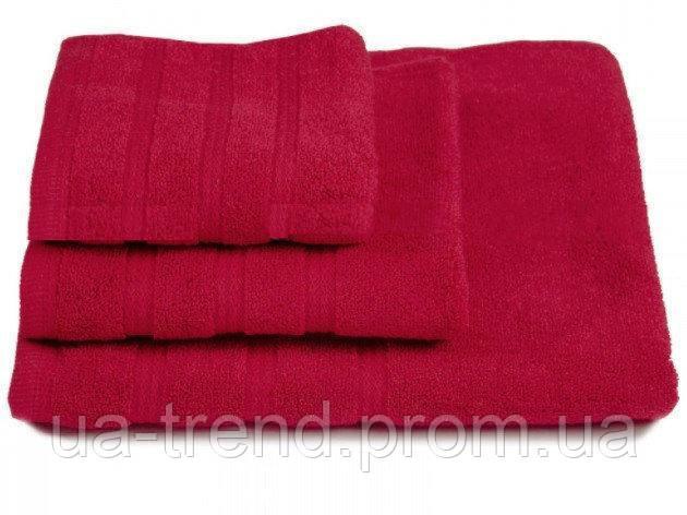 Набор махровых полотенец бордового цвета 3шт