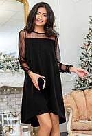 Вечернее асимметричное платье свободного кроя с рукавами из сеточки. Модель 20397. Размеры 42-56