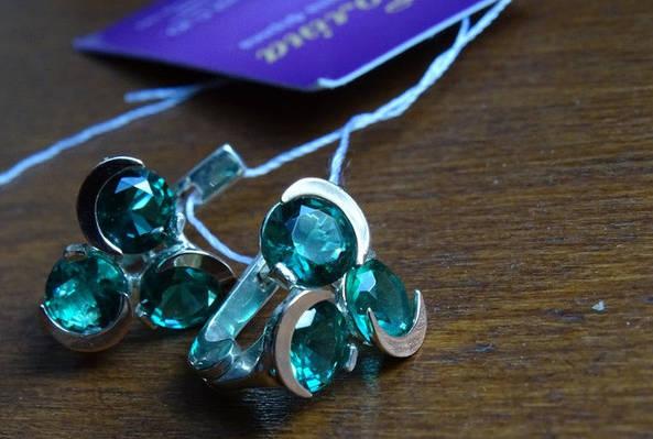 Винтажные серебряные серьги с золотыми пластинами