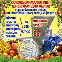 Шнековая соковыжималка СШ-1 для яблок (до 200 кг/ч) и других фруктов не требующая периодической очистки, 220В, фото 1