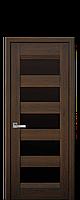 Дверне полотно BRONKS з чорним склом  колір Дуб шоколадний