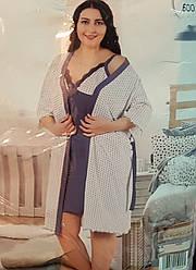Ночная рубашка на тонких бретельках с халатом в комплекте