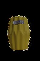 Ваза для цветов декоративная керамическая ребристая желтая маленькая