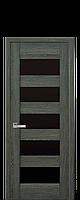 Дверне полотно BRONKS з чорним склом  колір Дуб графіт