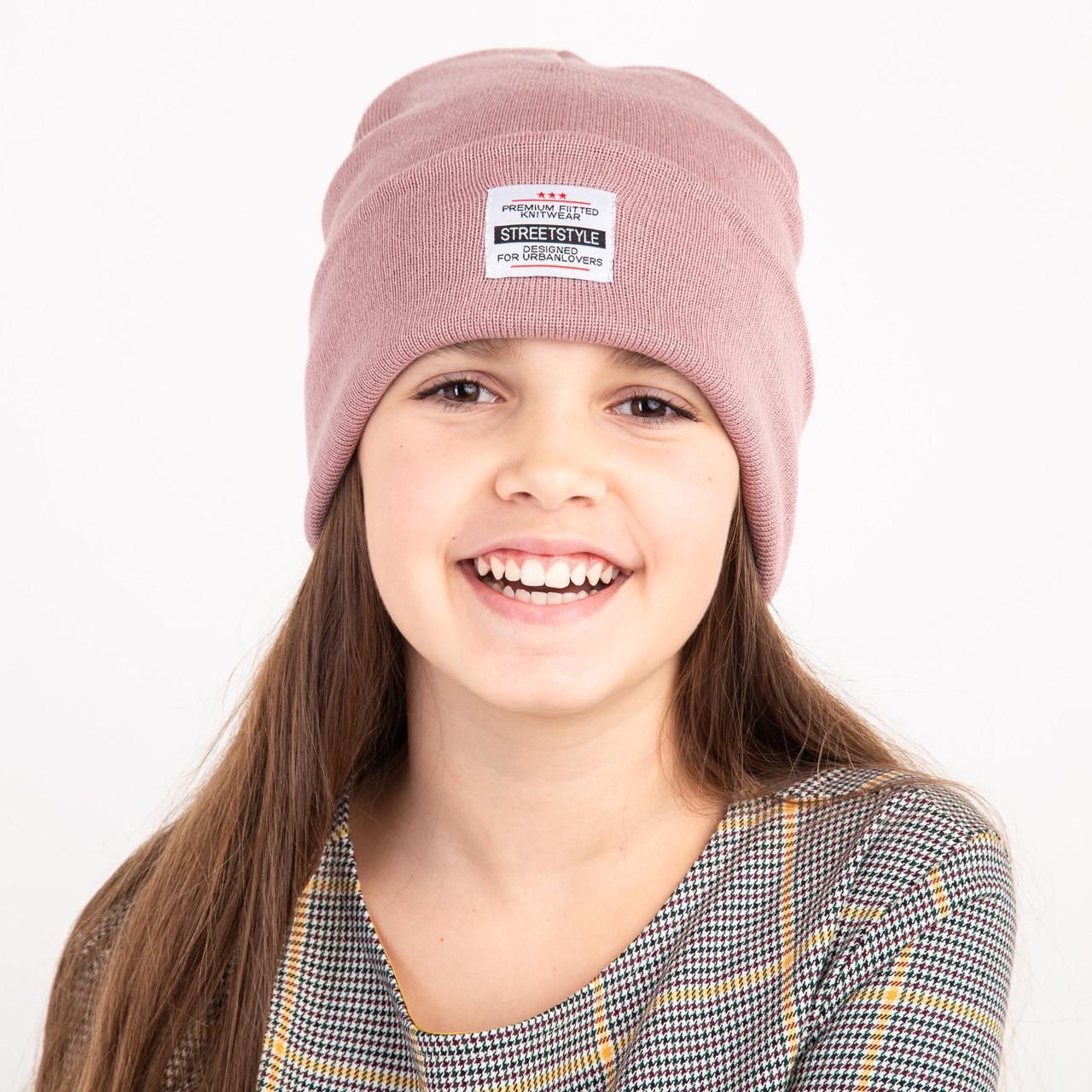 Стильная шапка для девочки двойной вязки - StreetStyle - Арт 2324