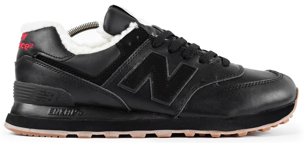 Мужские зимние кроссовки New Balance 574 'Black' (Нью Баланс) с мехом