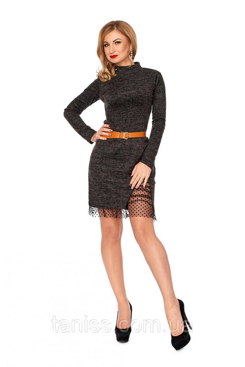 Теплое, молодежное офисное платье, из трикотаж ангора,  с воротником-стойкой, черный р.42,44,46,48 (1115),