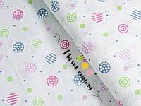 """Ткань муслин """"Цветные кружочки"""", ширина 160 см"""
