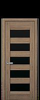 Дверне полотно BRONKS з чорним склом  колір Дуб янтарний