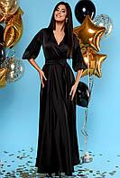 Богатое Струящееся Платье в Пол Шелковое Черное S-XL, фото 1