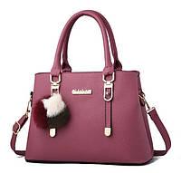 Модная женская сумка с меховым брелком Розовый, фото 1