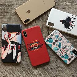 Дизайнерский пластиковый чехол Vogue Gucci для iPhone X/ XS /Xr /XS Max